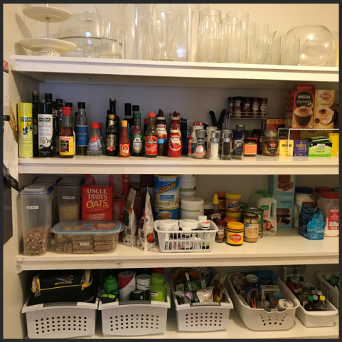 organised pantry, organized pantry, stackable baskets, de-clutter