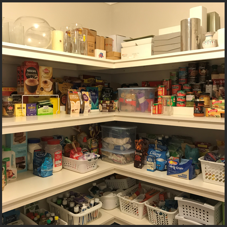 organised pantry, organized pantry, stackable baskets, de-clutter, decor containers