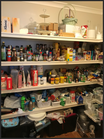 large pantry, disorganised pantry, disorganized pantry, clutter