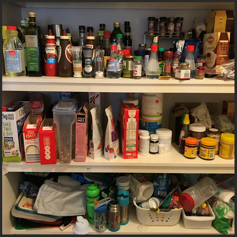 disorganised pantry, disorganized pantry, clutter