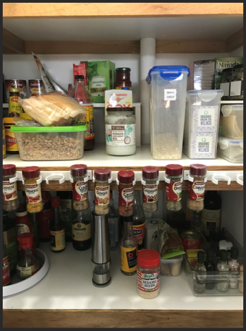 clutter, disorganised spices, disorganized spices, disorganised pantry, disorganized pantry