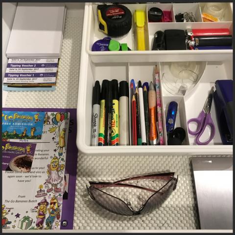 organised junk drawer, organized junk drawer