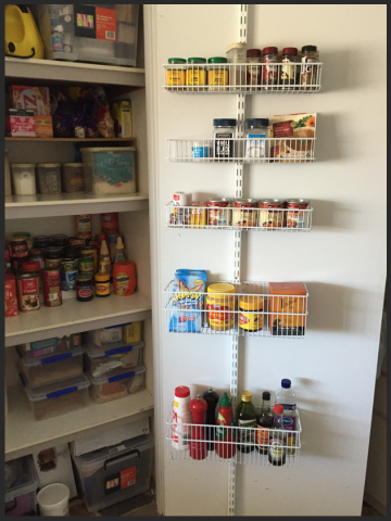 organised pantry, organized pantry, clutter free, elfa over the door rack