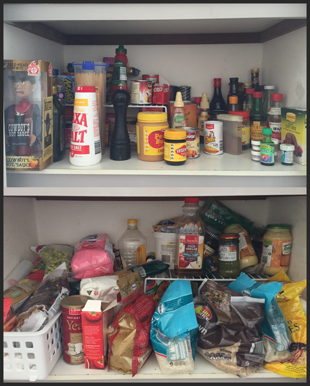 messy pantry, disorganised, disorganized, clutter